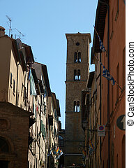 Volterra - Franceschini street and Bell Tower of Duomo