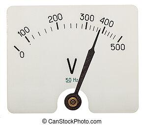 voltmètre, indiquer, isolé, flèche, fond blanc, 380, volts