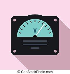 voltmeter, pictogram, stijl, plat