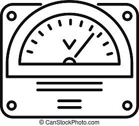 voltmeter, schets, pictogram, stijl