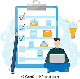 voltooiing, zakelijk, succesvolle , controlelijst, clipboard., map, tasks., document.