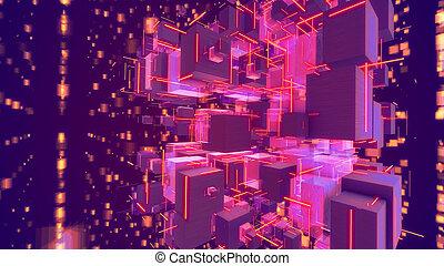 volumétrique, gai, cubes, rose, abstact
