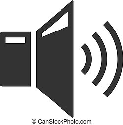 volume, áudio, -, bw, ícones