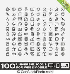 volume, 100, 3, universel, icônes
