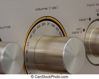 Volume - A close-up of a volume control showing markings in ...