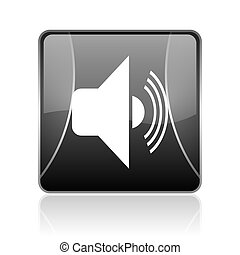 volume black square web glossy icon