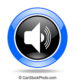 volume blue and black web glossy round icon
