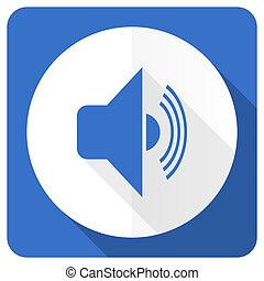 volume blue flat icon music sign