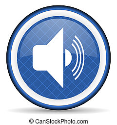 volume blue icon music sign