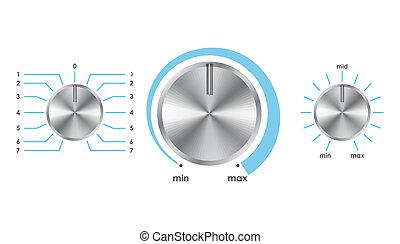 volume, boutons, équilibre, vecteur
