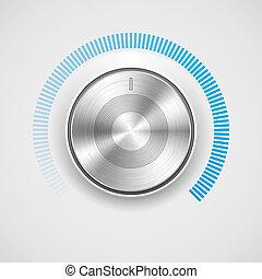 Volume button (music knob) with metal texture (steel,...