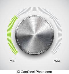 Volume button (music knob) with metal texture (chrome)