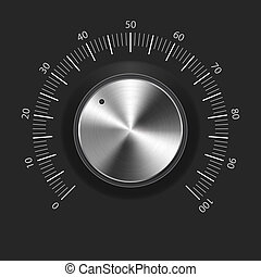 Volume button (music knob) with metal texture (chrome), scale and light background. Vector illustration.
