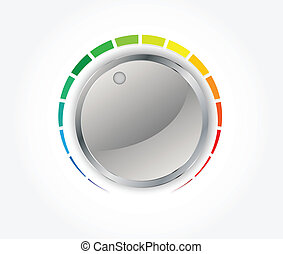 Volume button (music knob) with metal texture in editable vector format