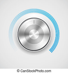Volume button (music knob) with metal texture (steel, chrome), blue (cyan) scale and light background. Vector illustration.