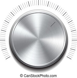Volume button -music knob with metal texture. Vector...