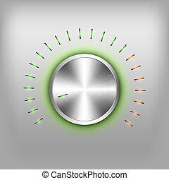 Volume Button - Volume button - music knob. Vector metal...