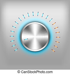 Volume Button - Volume button - music knob. Vector metal...