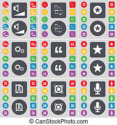 Volume, Connection, Star, Gear, Quotation mark, Star, ZIP file, Speaker, Microphone icon symbol. A large set of flat, colored buttons for your design.