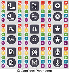 Volume, Connection, Star, Gear, Quotation mark, Star, ZIP file, Speaker, Microphone icon symbol. A large set of flat, colored buttons for your design. Vector