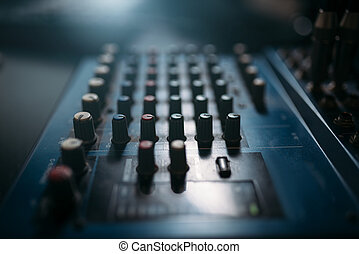 Volume control panel, sound board closeup. Professional ...