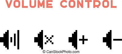volume control set in pixel art. concept of 8 bit videogame,...