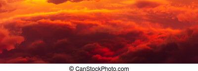 Volume Cumulus clouds on sunset illuminated by sunlight