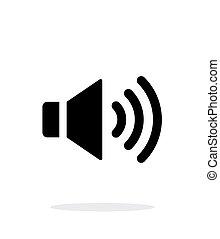 volume, fondo., altoparlante, max., bianco, icona