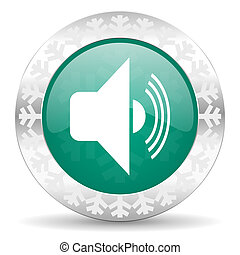 volume green icon, christmas button, music sign