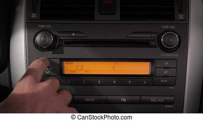 volume, haut, musique, voiture, tourner, stéréo