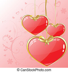Volume hearts with gold ribbon
