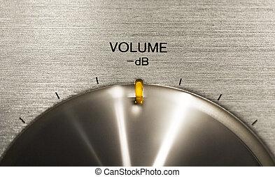 volume, hi-fi, bottone, spinta