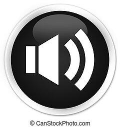 Volume icon black glossy round button