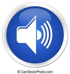 Volume icon blue glossy round button