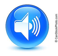 Volume icon glassy cyan blue round button