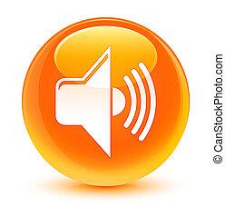 Volume icon glassy orange round button