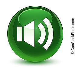 Volume icon glassy soft green round button