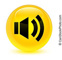 Volume icon glassy yellow round button