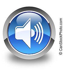 Volume icon glossy blue round button