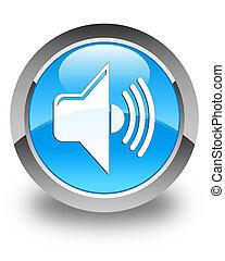 Volume icon glossy cyan blue round button