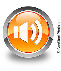 Volume icon glossy orange round button 2