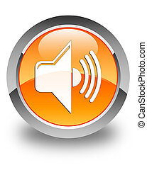 Volume icon glossy orange round button