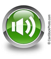 Volume icon glossy soft green round button