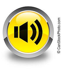 Volume icon glossy yellow round button