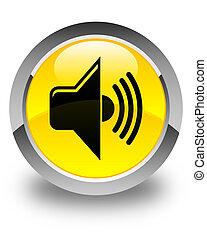 Volume icon glossy yellow round button