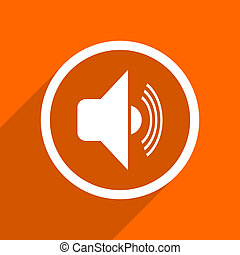 volume icon. Orange flat button. Web and mobile app design illustration