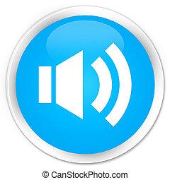 Volume icon premium cyan blue round button
