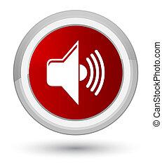 Volume icon prime red round button