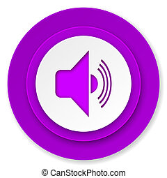 volume icon, violet button, music sign