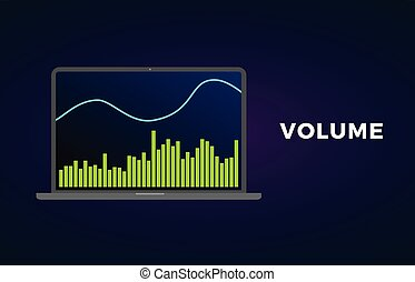 volume, indicator, forex, verwisselen, technisch, tabel, grafiek, cryptocurrency, analytics, vector, handel, analysis., markt, liggen